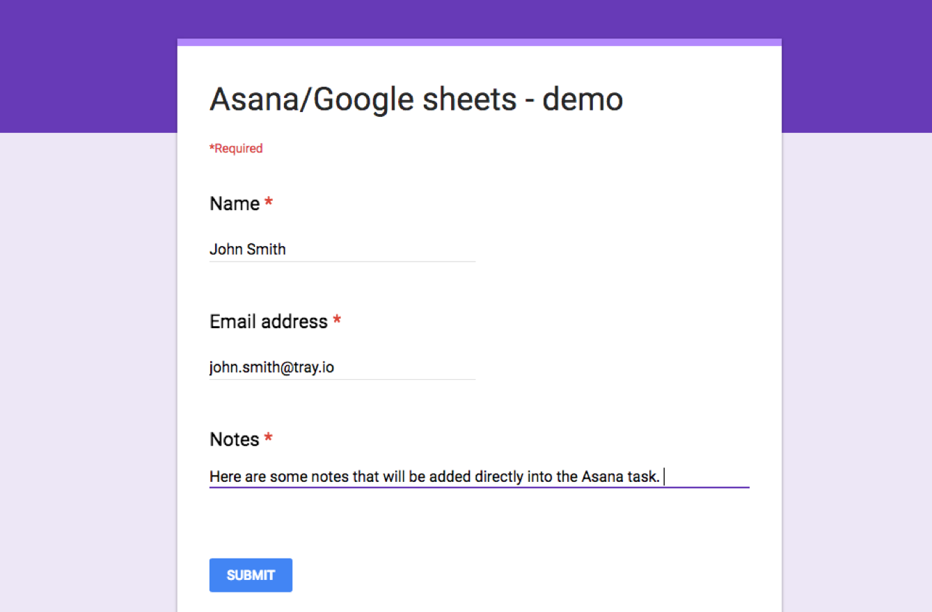 tray.io | Library | Create Asana tasks from new Google Form ...