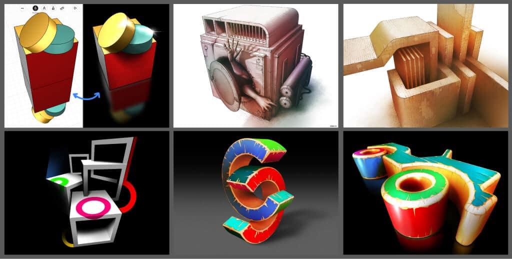 Pablo José Margaría - graphic design 3D shapes made using uMake and Procreate
