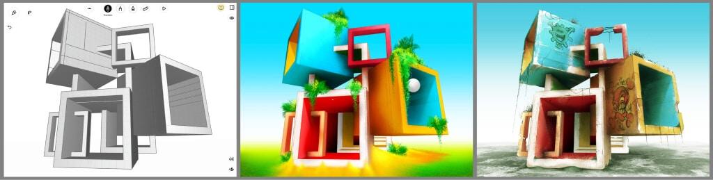 Pablo José Margaría: 3D abstract architectural design using uMake and Procreate
