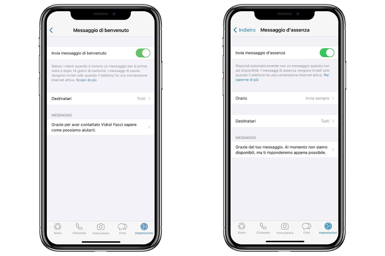 whatsapp business messaggio di benvenuto e di assistenza