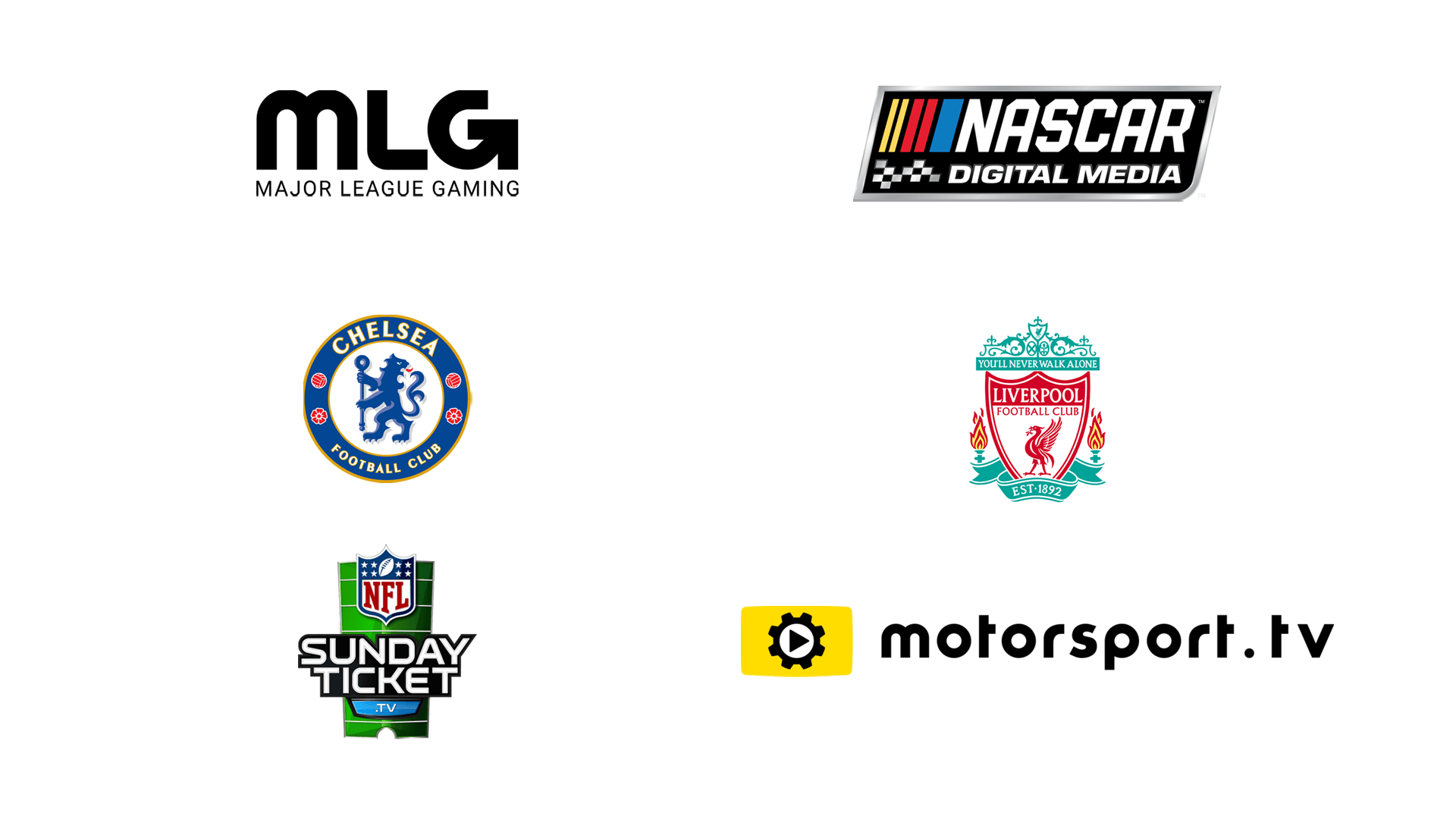 Sports and eSports Clients - MLG, NASCAR digital media, Chelsea, Liverpool football club, NFL Sunday Ticket, Motorsport TV