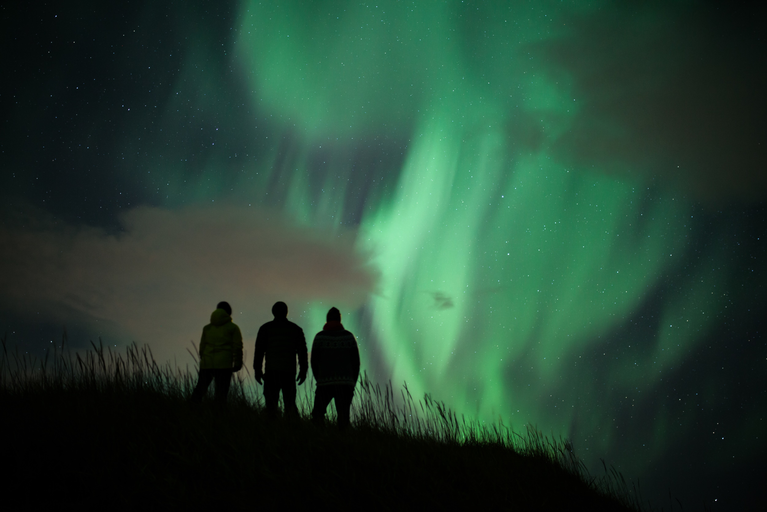 People viewing the Northern lights in Iceland