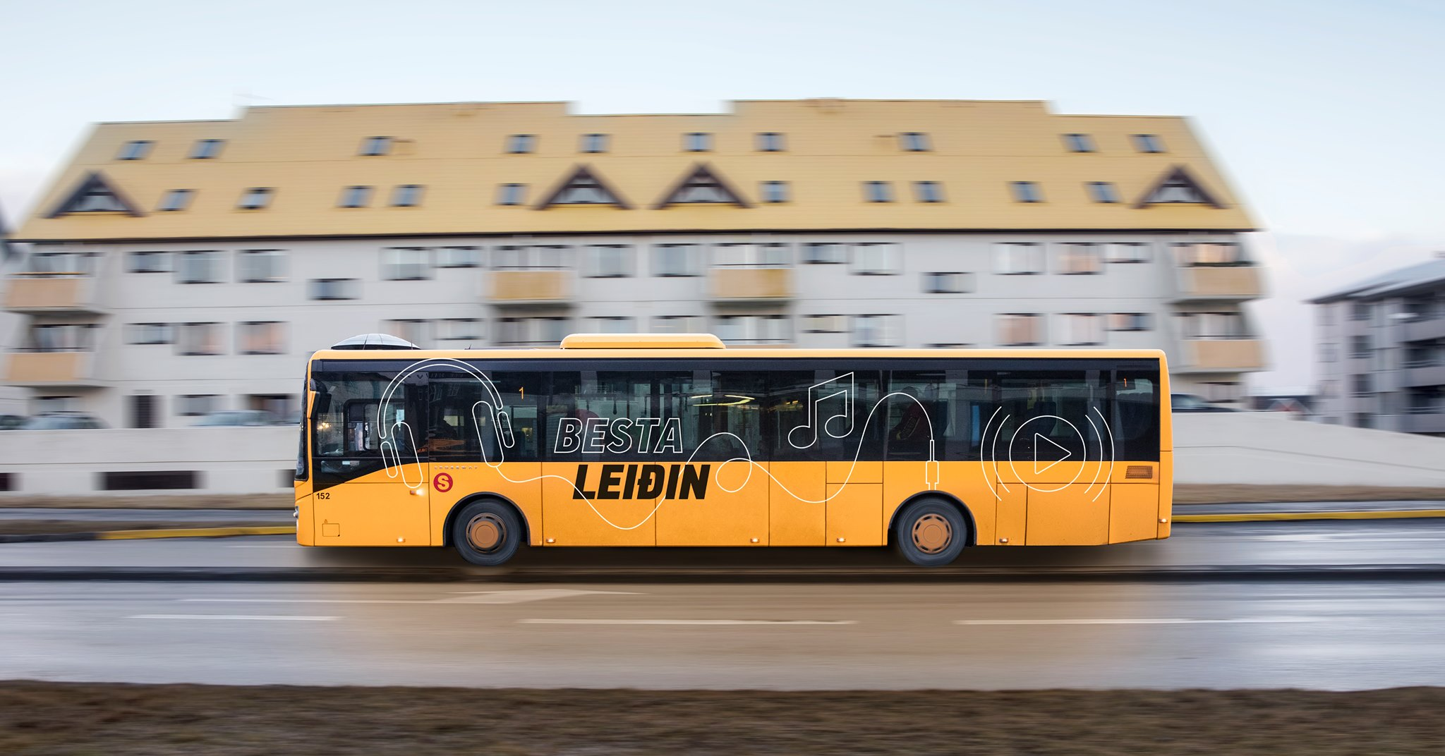 The public yellow bus in Iceland