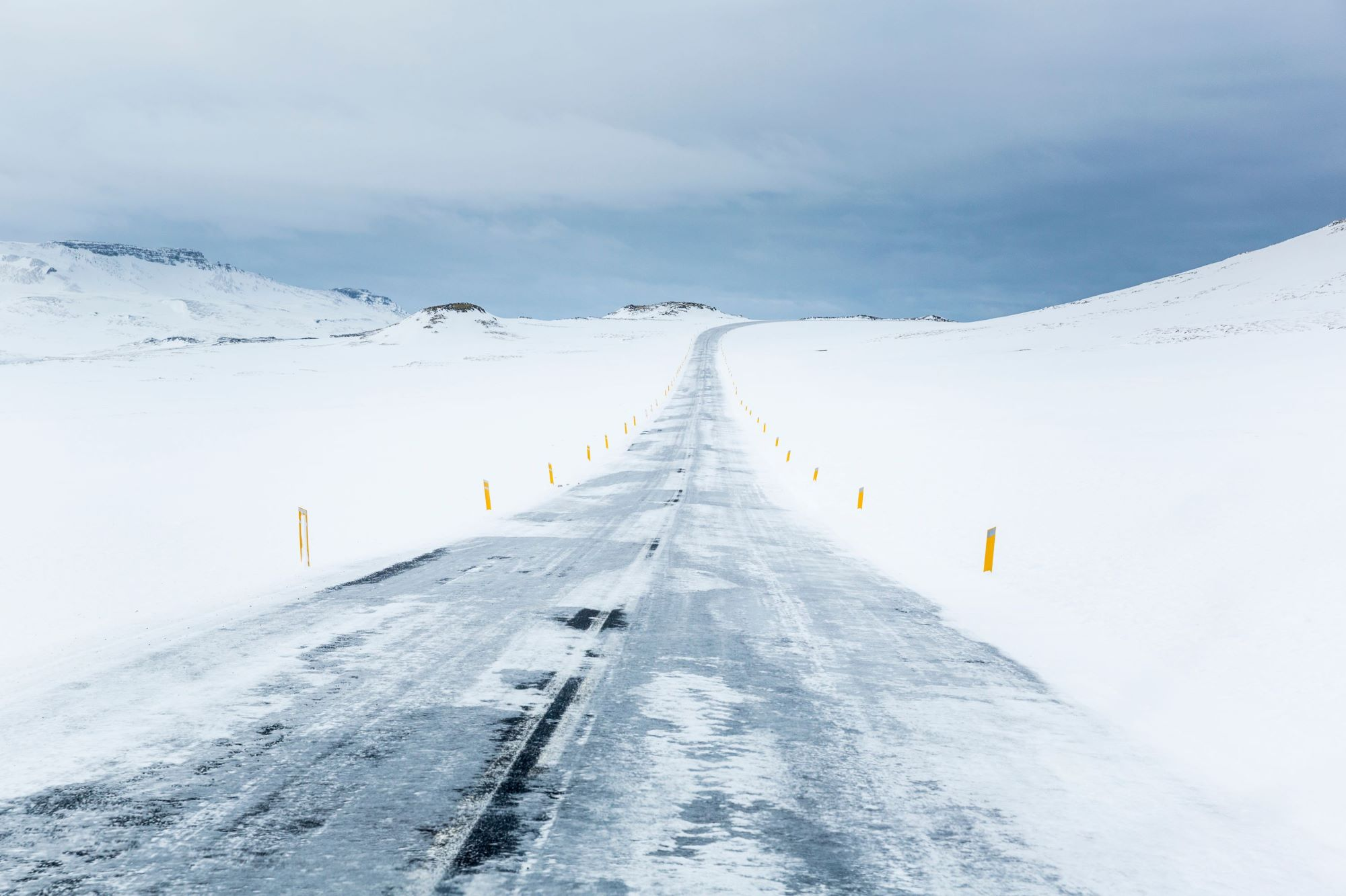 Icy roads in winter