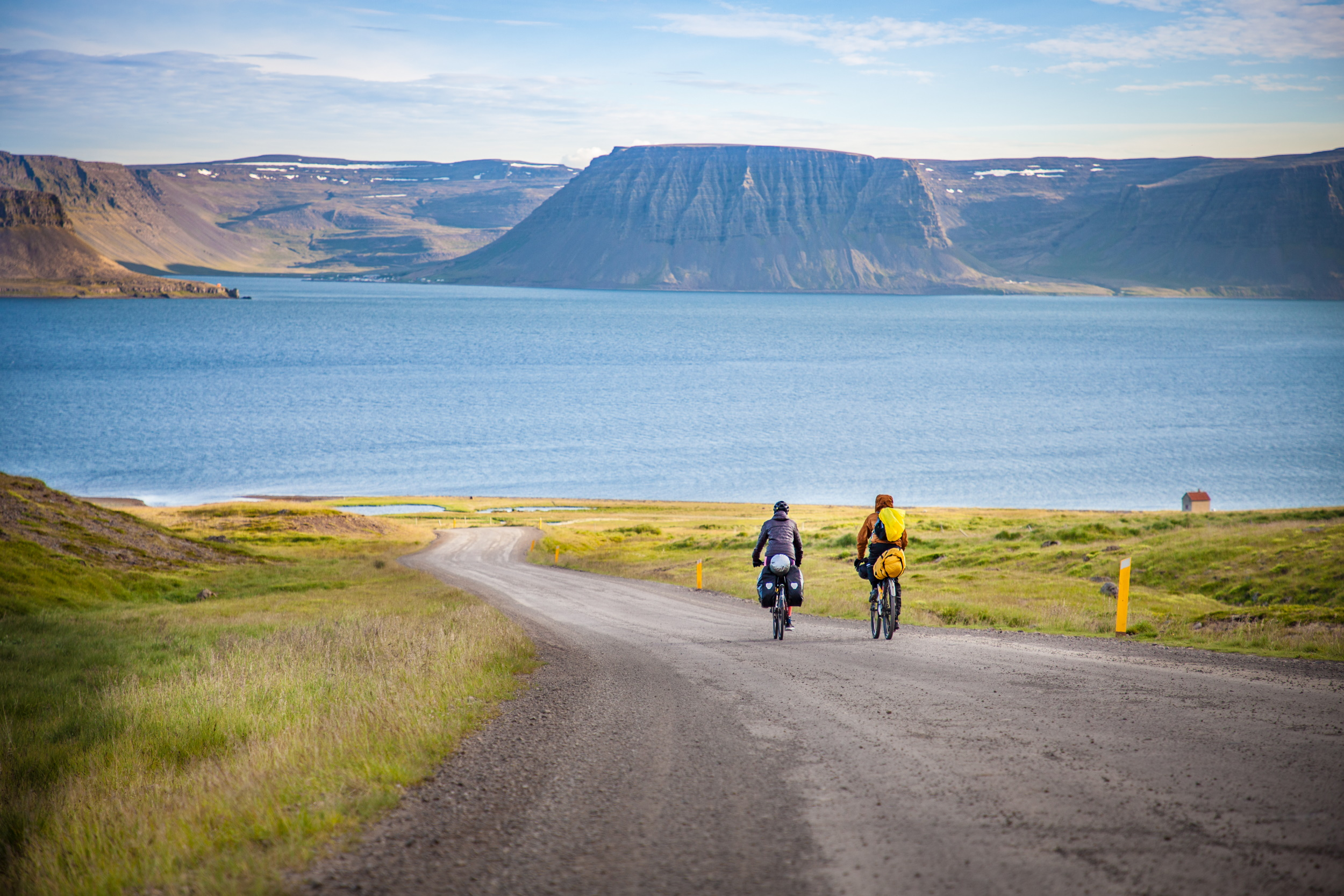 People riding bikes in Iceland