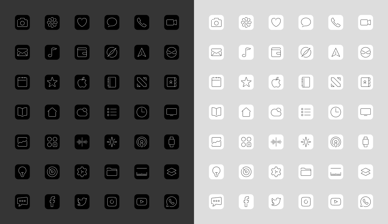 42 custom iOS icons in black and white.