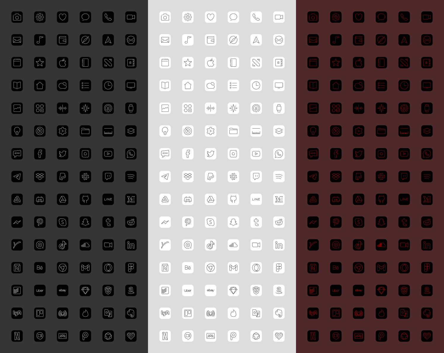 90 custom iOS icons in black, white and scarlet.