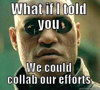 What if I told you, we could collab our efforts.
