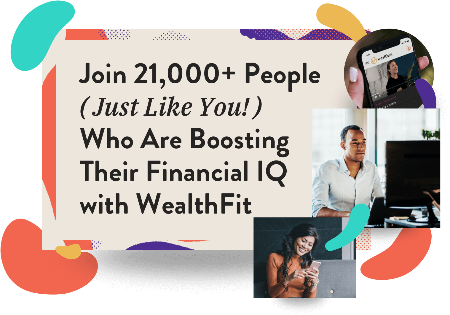 Collage of people viewing wealthfit.com