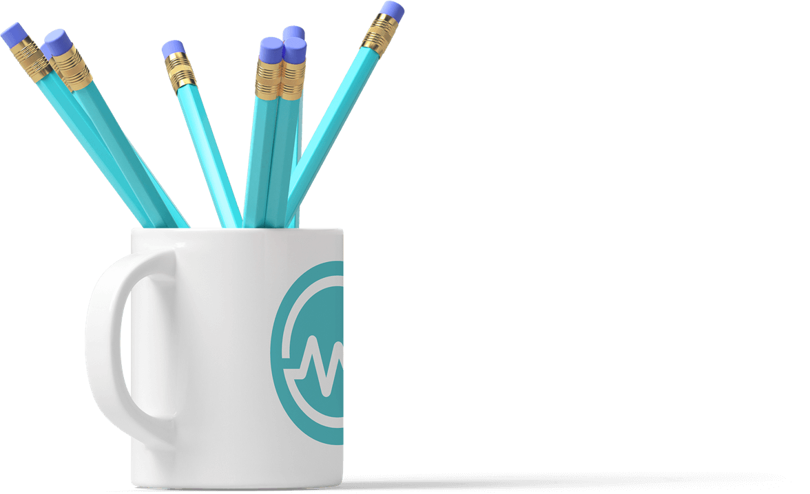 Collection of pencils in a coffee mug branded with the WealthFit Logo.