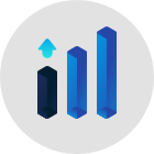 cubic bar charts repsenting growth