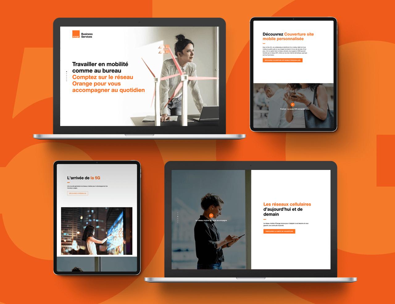 Plusieurs appareils (ordinateurs portables et tablettes) diffusent le site d'Orange Business Service