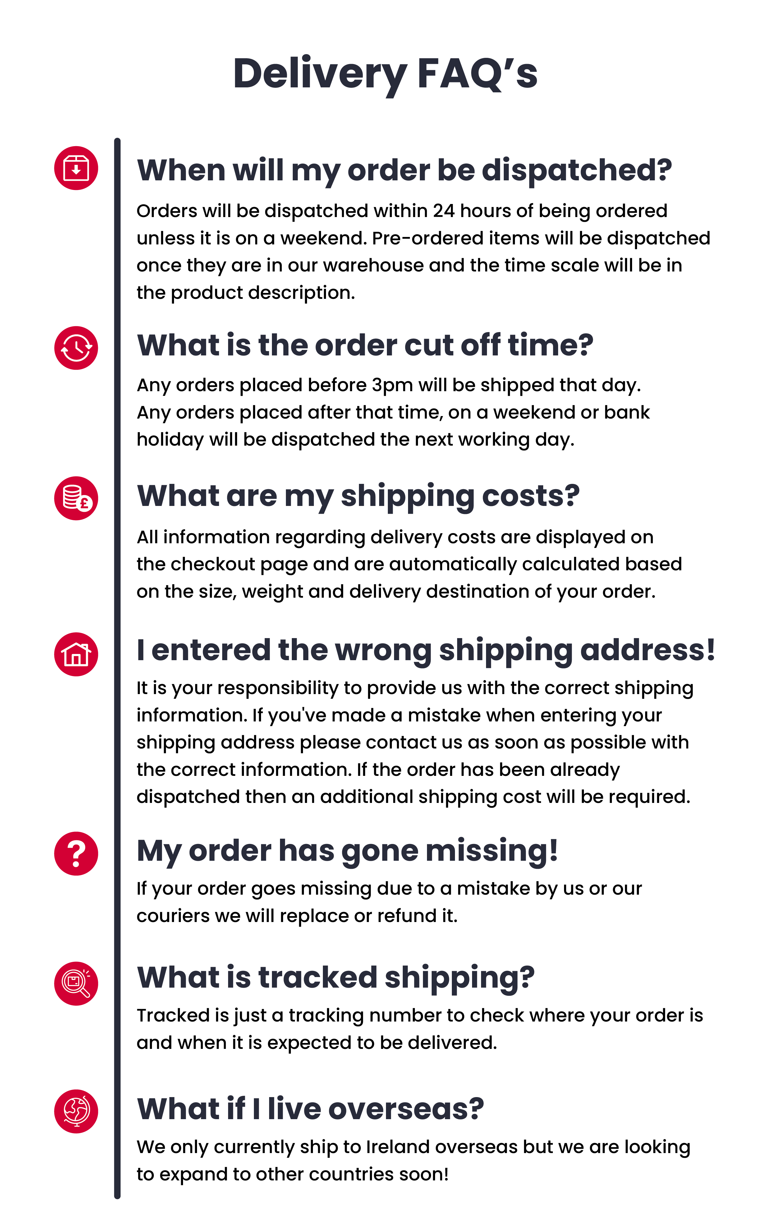 Team RH delivery FaQ infographic