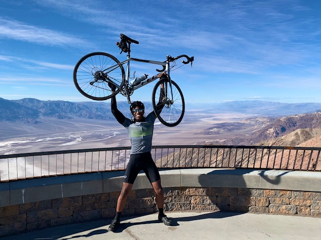 Dr Sean Amegadzie bicycle Dantes View Death Valley