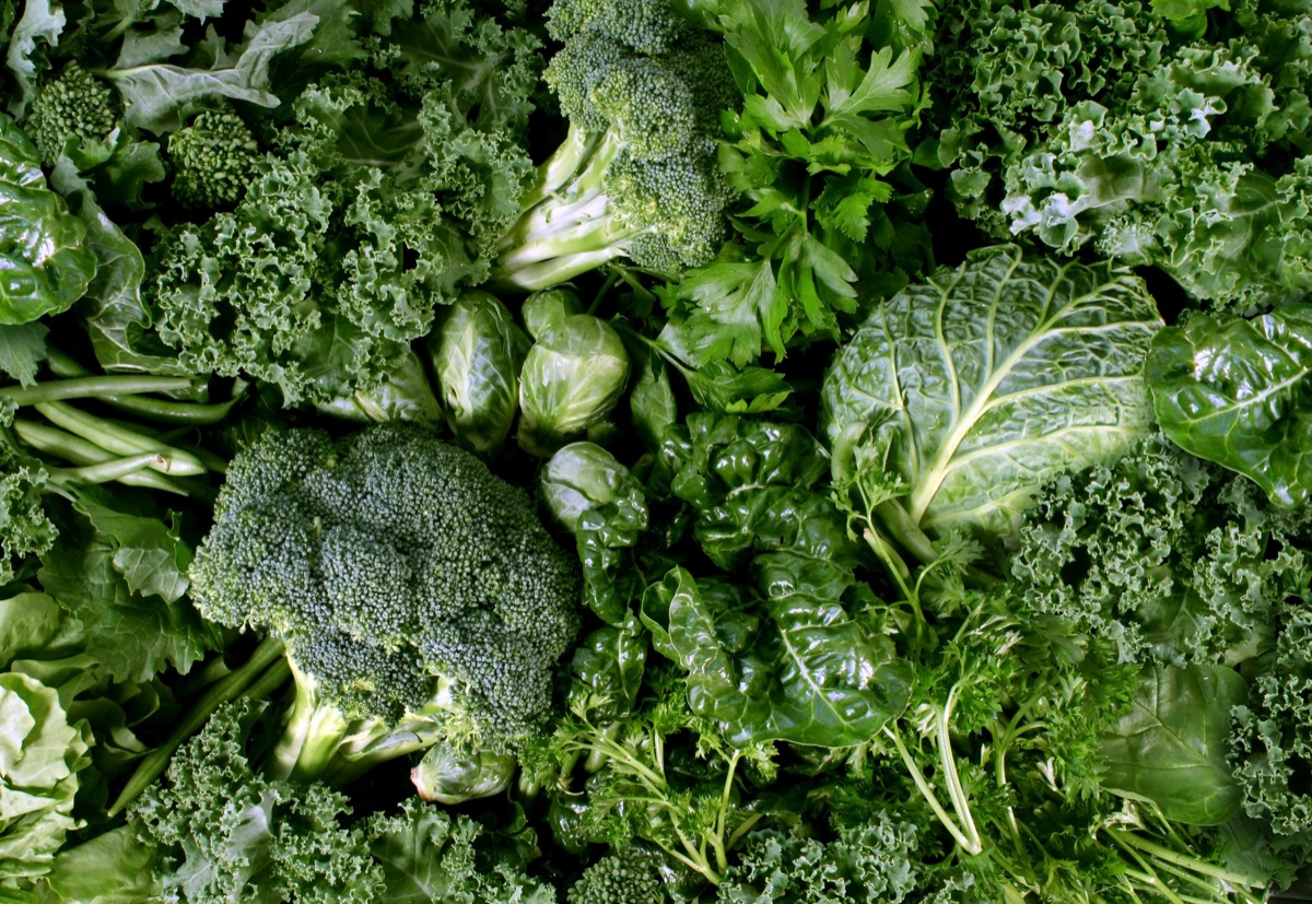Green leafy winter vegetables.