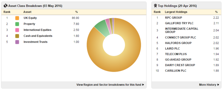 The breakdown of investments held within a fund