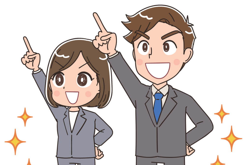 Two anime office workers feeling accomplished