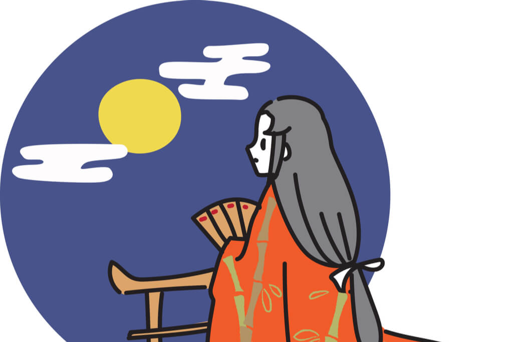 Princess Kaguya from the Japanese fairy tale looks at the moon while holding a fan.