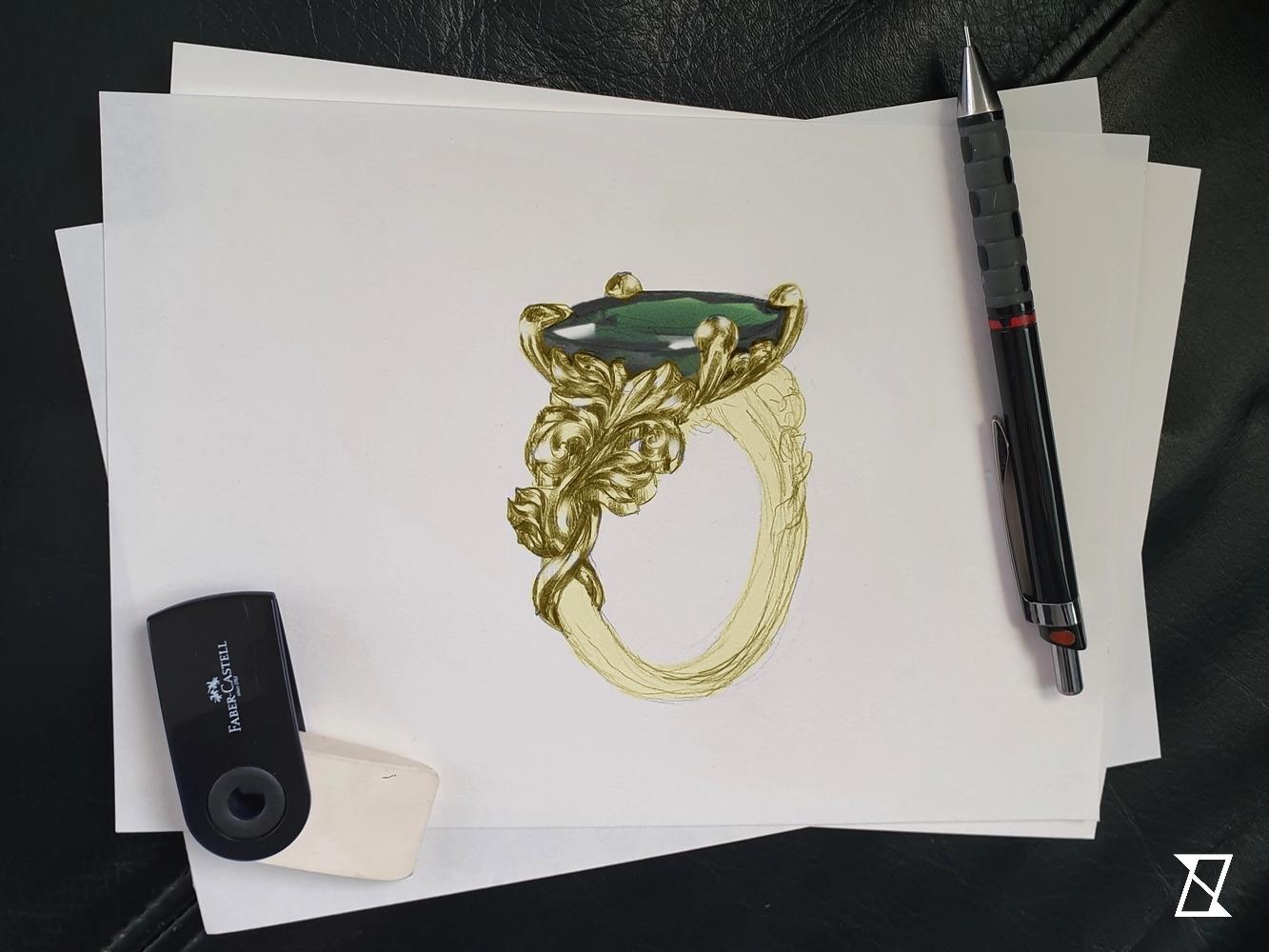 Projekt pierścionka dla Amandy wykonany ołówkiem.
