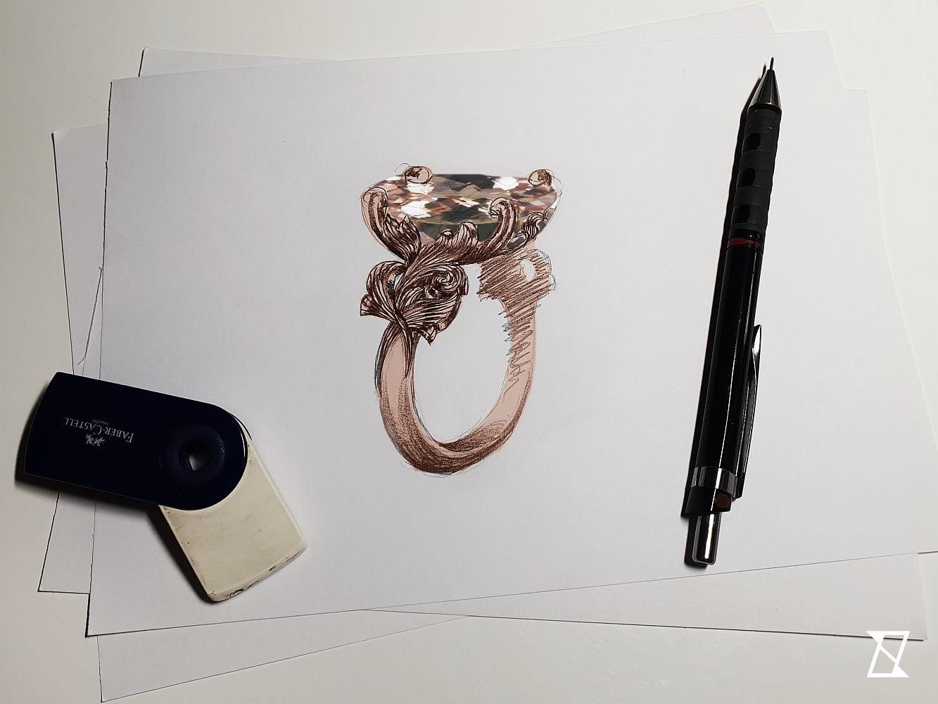 Projekt pierścionka z morganitem.