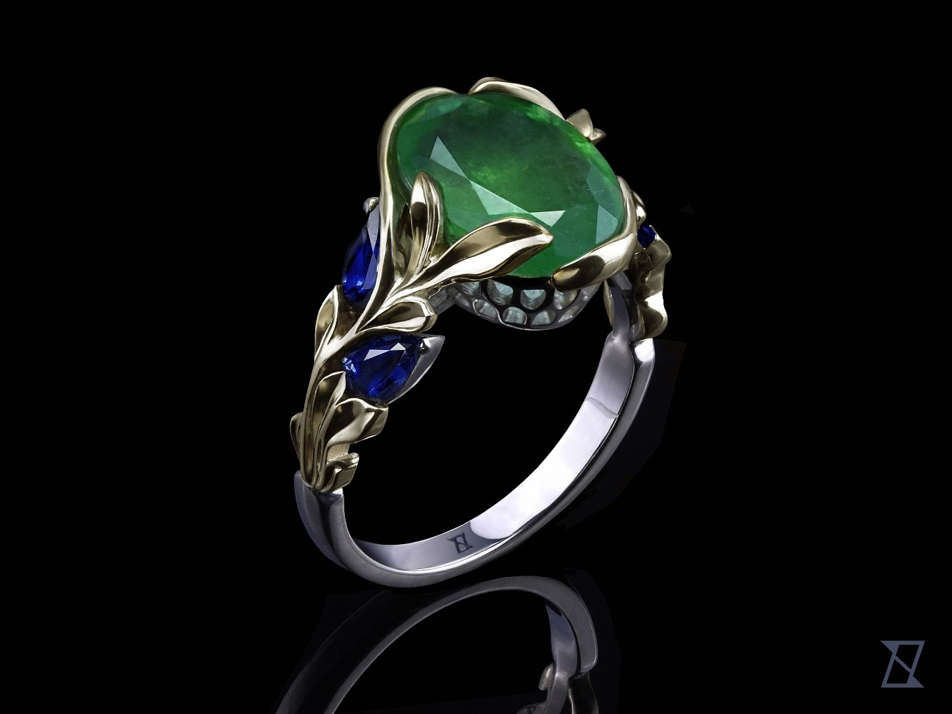 Roślinny pierścionek z dwukolorowego złota ze szmaragdem i szafirami