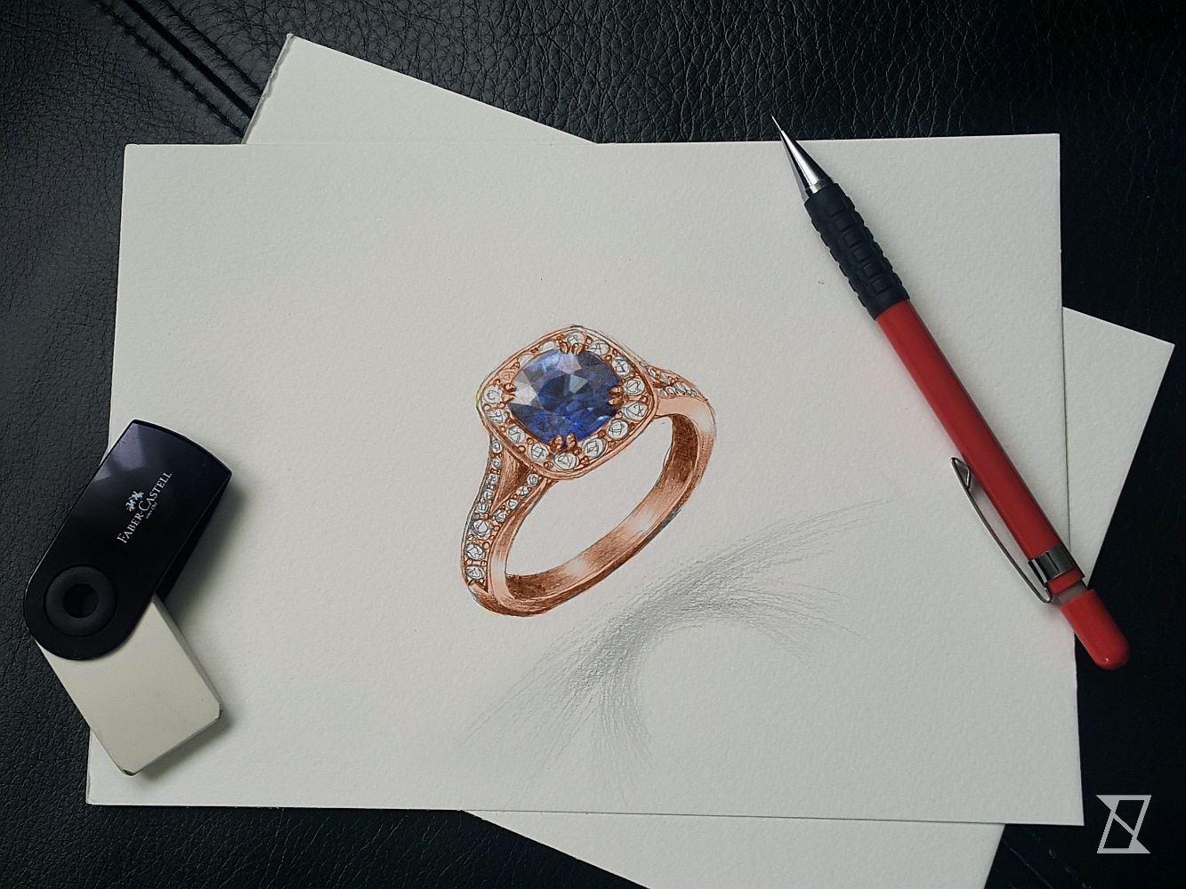 Projekt pierścionka z szafirem z diamentami.