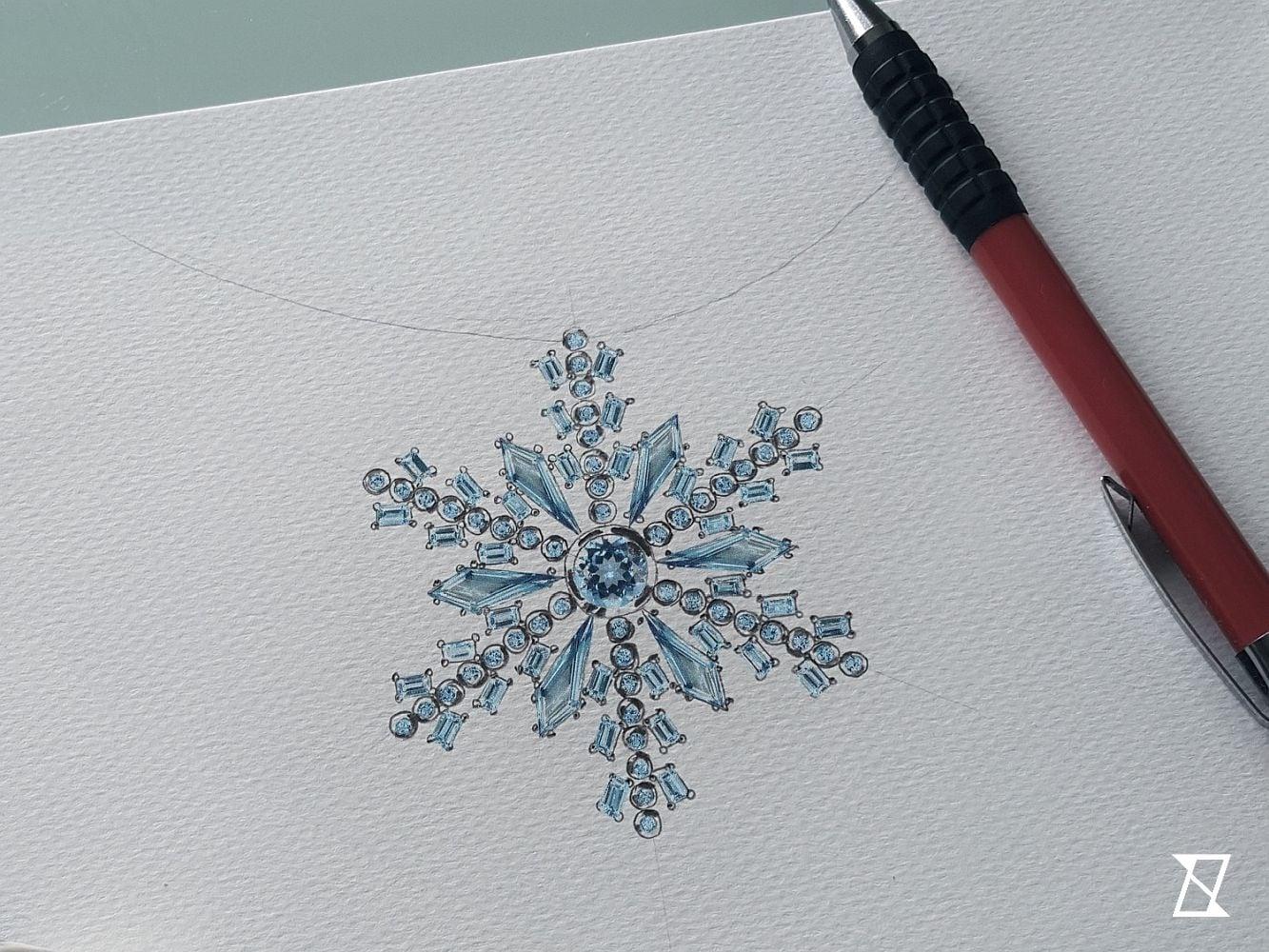 Projekt naszyjnika w kształcie płatka śniegu.